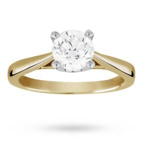 Solitaire Brilliant Cut 1.00 Carat Diamond Ring Set In 18 ...