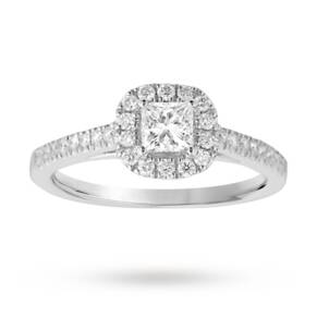 Princess cut 0.65 total carat weight diamond halo ring wi ...