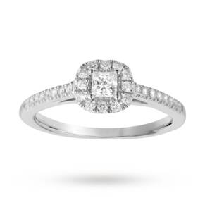 Princess cut 0.40 total carat weight diamond halo ring wi ...