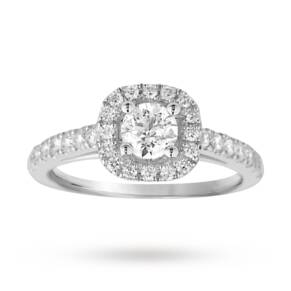 Brilliant cut 1.00 total carat weight diamond halo ring w ...
