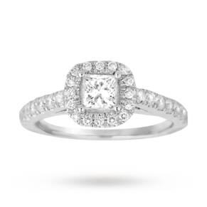 Princess cut 1.00 total carat weight diamond halo ring wi ...
