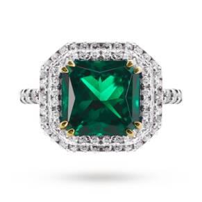 CARAT silver emerald green coloured ring
