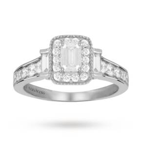 Vera Wang Love emerald cut 0.95 carat total weight solita ...