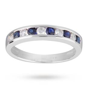 Brilliant Cut Sapphire and Diamond Eternity Ring in 9 Car ...