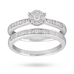 Brilliant Cut 0.35 Carat Diamond Bridal Set in 9 Carat White Gold