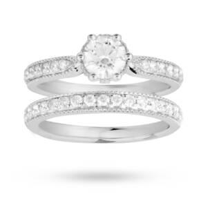 Brilliant Cut 1.04 Carat Total Weight Diamond Bridal Set ...