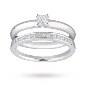 Princess Cut 0.55 Carat Total Weight Diamond Bridal Set i ...