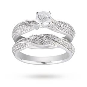 Brilliant Cut 0.90 Carat Total Weight Diamond Bridal Set ...