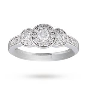 Brilliant Cut 0.52 Carat Total Weight Three Stone Diamond ...