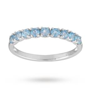 Blue Topaz Eternity Ring in 9 Carat White Gold