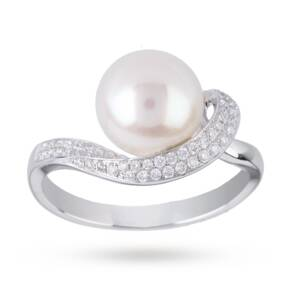 Fresh Water Pearl Ring Wrapped With Diamonds in 18 Carat ...