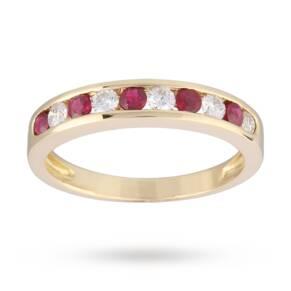 Brilliant Cut Ruby and Diamond Eternity Ring in 9 Carat Y ...
