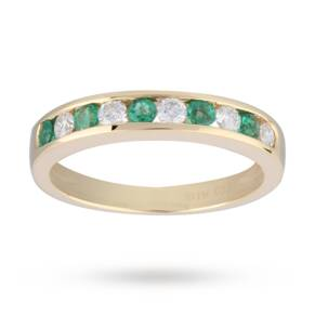 Brilliant Cut Emerald and Diamond Eternity Ring in 9 Cara ...