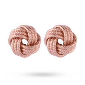 Italian Silver Rose Gold Plated Frost Love Knot Earrings