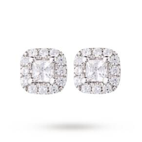 9ct White Gold 0.20ct Princess Cut Diamond Stud Earrings