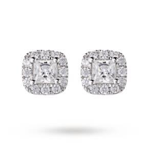 9ct White Gold 0.30ct Princess Cut Diamond Claw Halo Stud Earrings