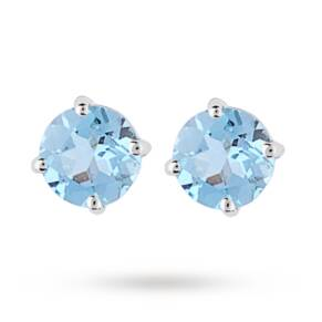 9ct White Gold 1.60ct Blue Topaz Stud Earrings