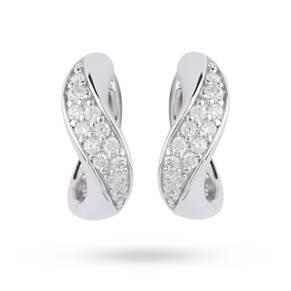 Silver Cubic Zirconia Curve Huggy Hoop Earrings