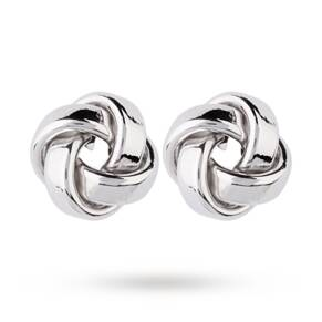 9ct White Gold Flat Knot Stud Earrings