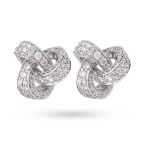 9ct White Gold 1.19ct Diamond Knot Stud Earrings