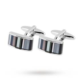 Silver Rectangle Stripe Mother Of Pearl Cufflinks