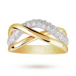 Cubic Zirconia Cross Over Ring in Yellow Gold Plated