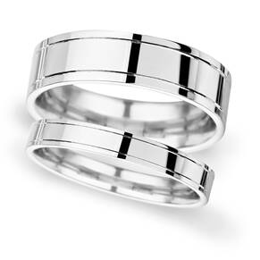 7mm D Shape Standard polished finish with grooves Wedding Ring in Platinum