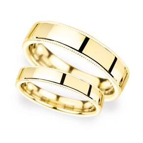 2mm Traditional Court Heavy Milgrain Edge Wedding Ring In 9 Carat Yellow Gold