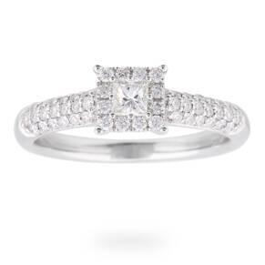 Princess Cut 0.47 Carat Total Weight Diamond Solitaire Ri ...
