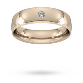 6mm Brilliant Cut Diamond Set Wedding Ring in 9 Carat Rose Gold - Ring Size Q