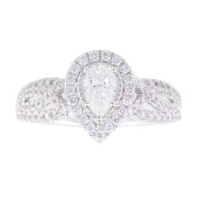 Vera Wang Love Pear Cut 0.95 Total Carat Weight Cluster a ...