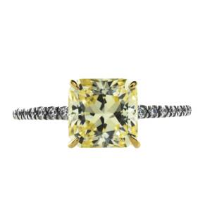 CARAT Princess Cut Yellow Gemstone Solitaire Ring in 9 Ca ...