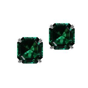 CARAT 9ct White Gold Emerald Coloured Asscher Stud Earrings