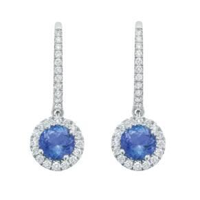 Carrington Vivian Round Halo Tanzanite Drop Earrings