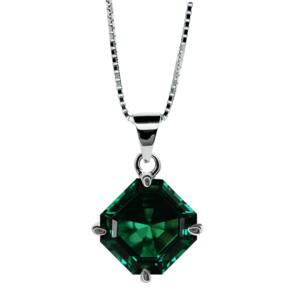 CARAT 9ct White Gold Emerald Coloured Asscher Pendant
