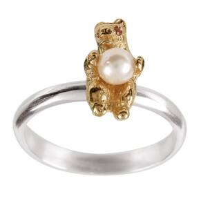 Amulette 9ct Gold Plated Dancing Bear Ring