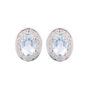 9ct Gold Oval Aquamarine Stud Earrings
