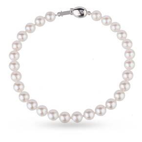 9ct White Gold 6-6.5mm Akoya Pearl Strand Bracelet