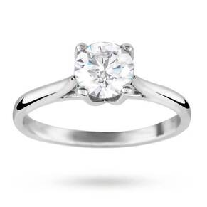 Silver Cubic Zirconia 1.00 Carat Engagement Ring