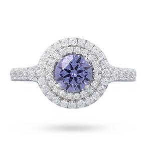 Tanzanite And Diamond Set Ring In 18 Carat White Gold